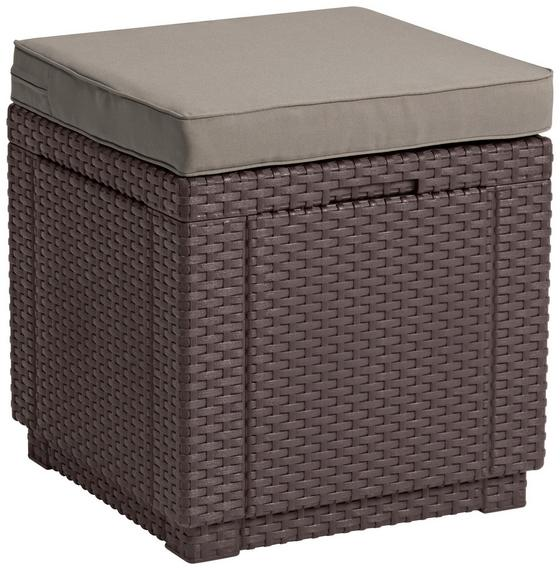 Gartenhocker Cube Polyrattan mit Kissen - Braun, MODERN, Kunststoff (42/39/42cm) - Allibert