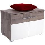 Lavica Monza New - farby dubu/biela, Moderný, kompozitné drevo (80/50/36cm)