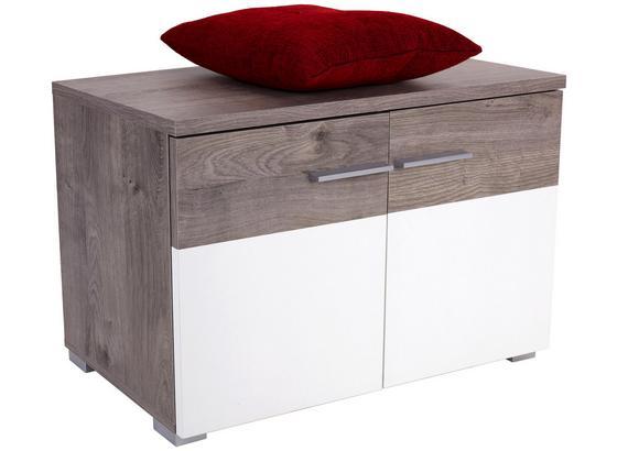 Šatní Lavice Monza New - bílá/barvy dubu, Moderní, kompozitní dřevo (80/50/36cm)