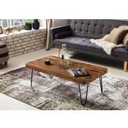 Couchtisch mit Holzplatte Bagli, Sheesham Massiv - Sheeshamfarben/Schwarz, Design, Holz/Metall (115/60/40cm) - MID.YOU