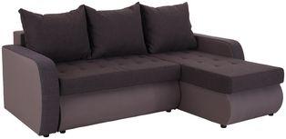 Ecksofa mit Schlaffunktion + Bettkasten Paula, Webstoff - Schwarz/Grau, MODERN, Holzwerkstoff/Textil (232/145cm) - Ombra
