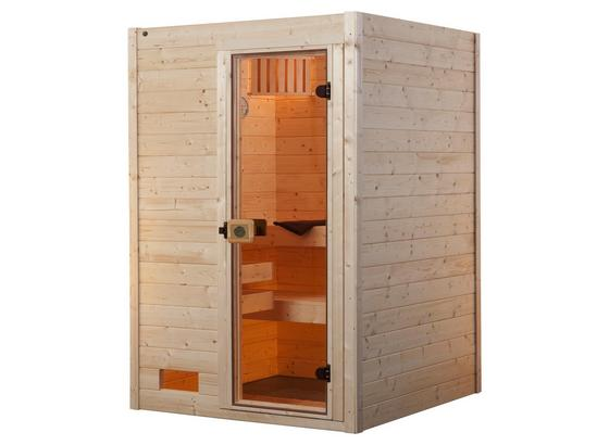 Sauna Valida 139x203,5x139 cm - Naturfarben, MODERN, Glas/Holz (139/203,5/139cm)
