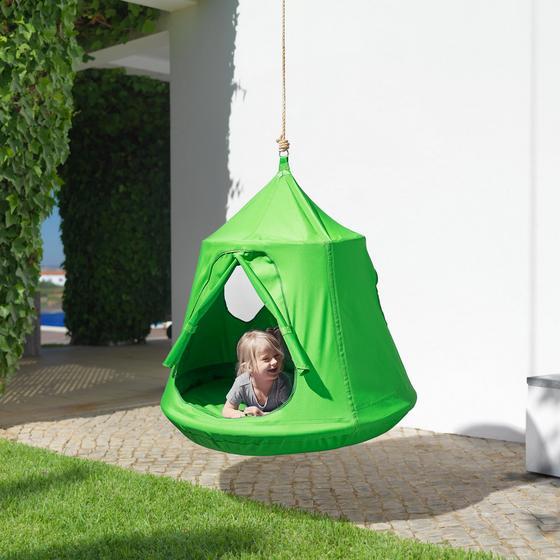 Sieťová Hojdačka Leon - zelená, Moderný, umelá hmota/kov (110/120cm) - Modern Living