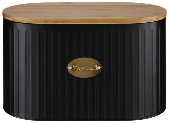 Box Na Chleba Industry - černá/přírodní barvy, Moderní, kov/dřevo (34/18/21cm) - Mömax modern living