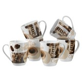 Kaffeebecher Latte Macchiato 6-Tlg - Braun/Weiß, Basics, Keramik (280ml) - Mäser
