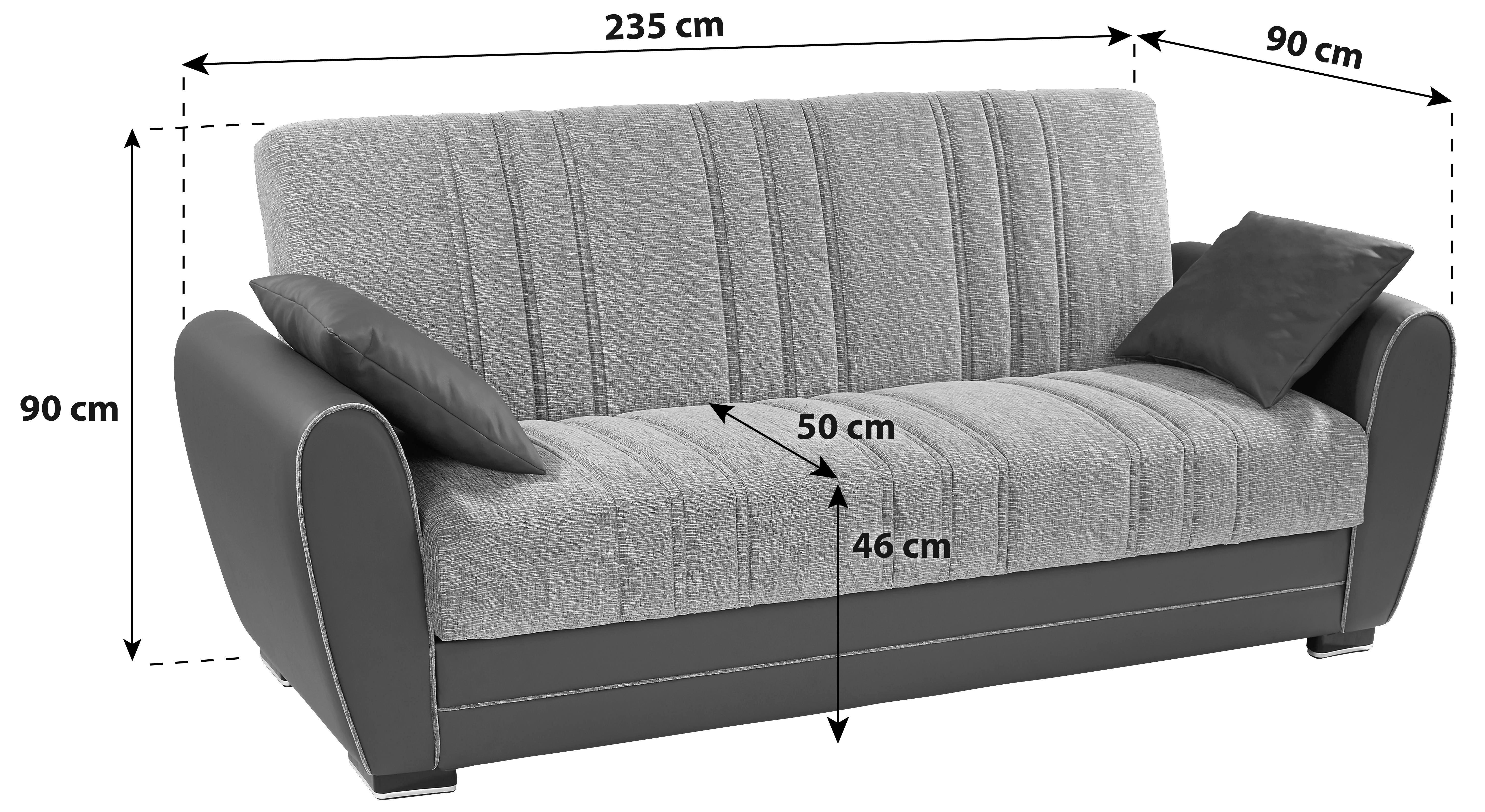 Rozkládací Pohovka Pelin - černá/fialová, kov/dřevo (235/85/90cm)