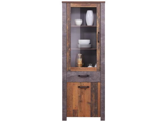 Vitrine Ontario - Dunkelgrau/Eichefarben, Trend, Glas/Holzwerkstoff (71,4/200/41,5cm) - Ombra