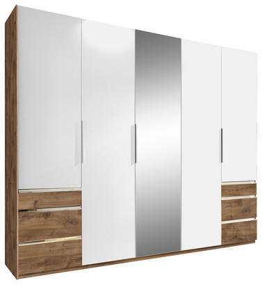 Fünftüriger Schrank in Weiß und Eiche Dekor mit Schubladen und Spiegel