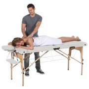 Massageliege aus Holz - Creme/Naturfarben, MODERN, Holz/Kunststoff (217/92/63,5-86cm)