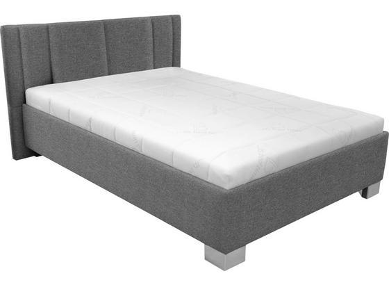 Polsterbett Stilo 140x200 Grau - Chromfarben/Weiß, Holz/Textil (214/162/97cm)