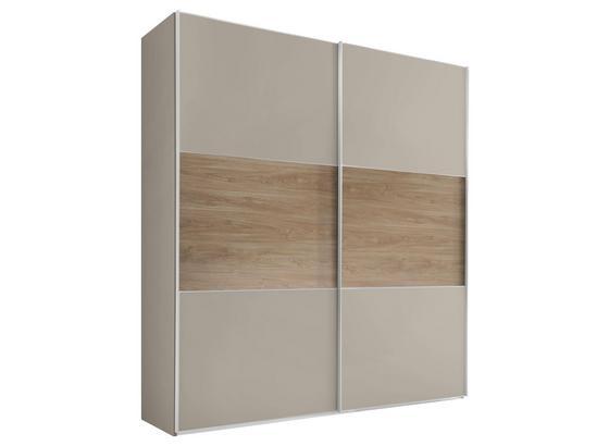 Schwebetürenschrank Includo B:225cm Sand/puccini Dekor - Sandfarben/Eichefarben, MODERN, Holzwerkstoff (225/222/68cm)