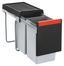 Abfallsammler Cube 30  2fach - Hellgrau/Schwarz, Kunststoff (25.3/46.7/43.3cm)