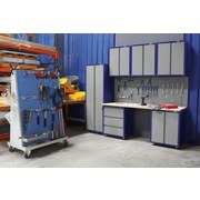 Werkbankset XLarge 268 cm Grau/blau - Blau/Buchefarben, KONVENTIONELL, Holz/Metall (268/232/60cm) - Erba