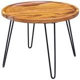 Couchtisch Holz mit Massiver Tischplatte, Sheesham - Sheeshamfarben/Schwarz, MODERN, Holz/Metall (60/60/45cm) - Livetastic