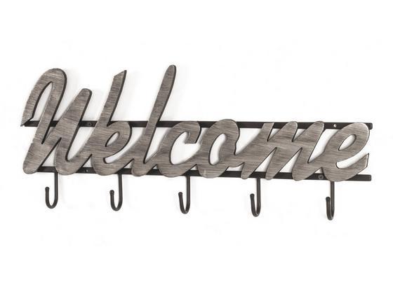Hakenleiste Welcome - Silberfarben/Schwarz, MODERN, Holzwerkstoff/Metall (60/22/4cm)