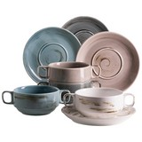 Suppentasse Derby 8-Tlg. - Blau/Beige, Basics, Keramik (40/30/20cm)