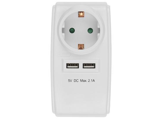 Multistecker 2x USB-anschluss - Weiß, KONVENTIONELL, Kunststoff (11,3/6,3/7,6cm) - Homezone