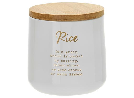 Dóza Na Potraviny Fiona - Rice - bílá/měděné barvy, Lifestyle, kov/dřevo (10/11cm) - Zandiara