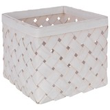 Košík Cubus - S - biela/svetlosivá, Romantický / Vidiecky, prírodné materiály (24/24/19cm)
