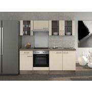 Küchenblock Eico 210cm Magnolie - Edelstahlfarben/Eichefarben, MODERN, Holzwerkstoff (210/60cm) - FlexWell.ai