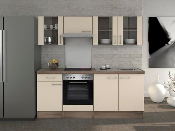 Küchenblock eico 210cm magnolie edelstahlfarben eichefarben modern holzwerkstoff 210 60cm