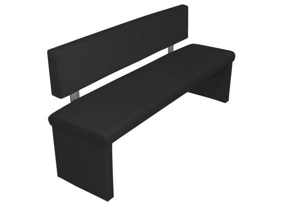 Sitzbank Charisse B: ca. 140 cm Schwarz - Schwarz, MODERN, Textil/Metall (140/83/54cm) - Livetastic