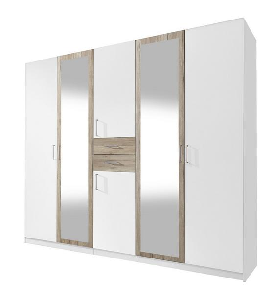 Skříň Šatní Diver - bílá/barvy dubu, Konvenční, dřevo/kompozitní dřevo (225 210 58cm)
