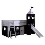 Spielbett Kim 90x200cm Buche Massiv - Schwarz/Weiß, Design, Holz (90/200cm)