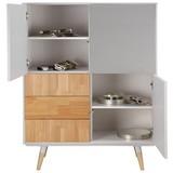 Komoda Evlyn - šedá/přírodní barvy, Moderní, kov/dřevo (108/136/45cm) - MODERN LIVING