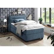 Boxspringbett mit Topper 100x200 Maine - Blau/Schwarz, KONVENTIONELL, Textil (100/200cm) - Carryhome