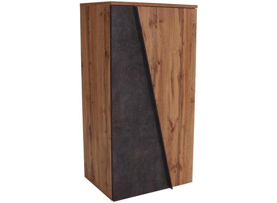 Komoda Highboard Venedig - barvy dubu/tmavě šedá, Moderní, kompozitní dřevo