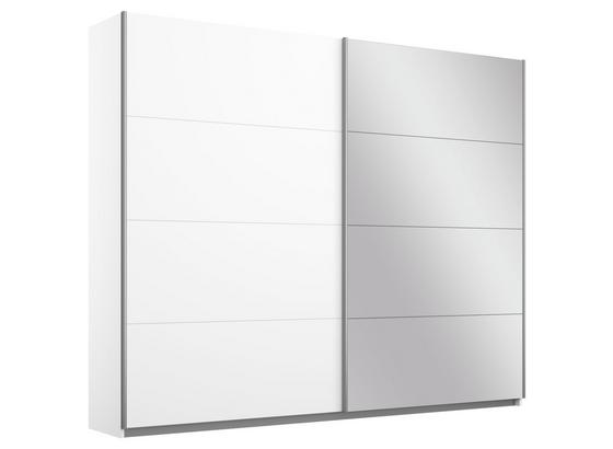Schwebetürenschrank Belluno B:226cm Weiß Dekor/ Spiegel - Weiß, MODERN, Holzwerkstoff (226/210/62cm)