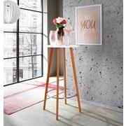 Bartisch Levi D: 60 cm Weiß - Chromfarben/Naturfarben, MODERN, Holz/Holzwerkstoff (60/110cm) - Ombra