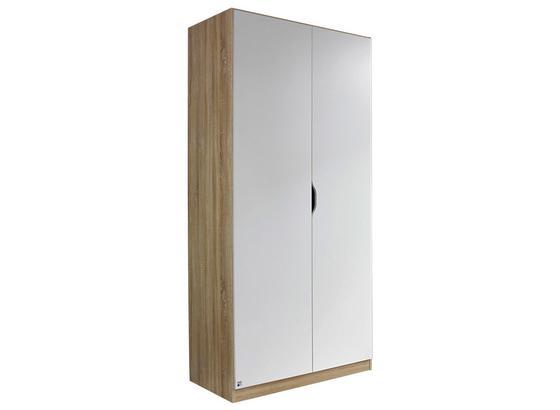 Skriňa Freising - biela/dub sonoma, Moderný, kompozitné drevo (91/197/54cm)