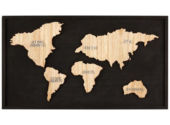 Dekorace Nástěnná Continent - bílá/černá, dřevo (80l) - Mömax modern living