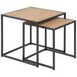 Satztisch Seaford 2-Er Set Wildeiche Dekor - Eichefarben/Schwarz, Trend, Holzwerkstoff/Metall (50/45/50cm) - Carryhome