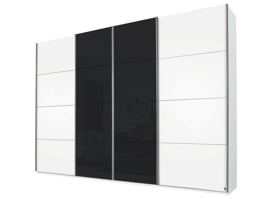 Schwebetürenschrank 316cm Bensheim - Dunkelgrau/Weiß, MODERN, Glas/Holzwerkstoff (316/230/62cm) - James Wood