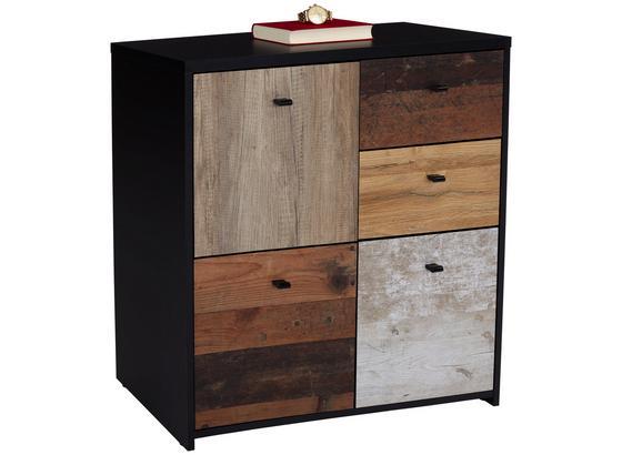 Komoda Sanne Sqnk223 - farby dubu/čierna, Moderný, kov/kompozitné drevo (77,2/77,5/29,6cm)