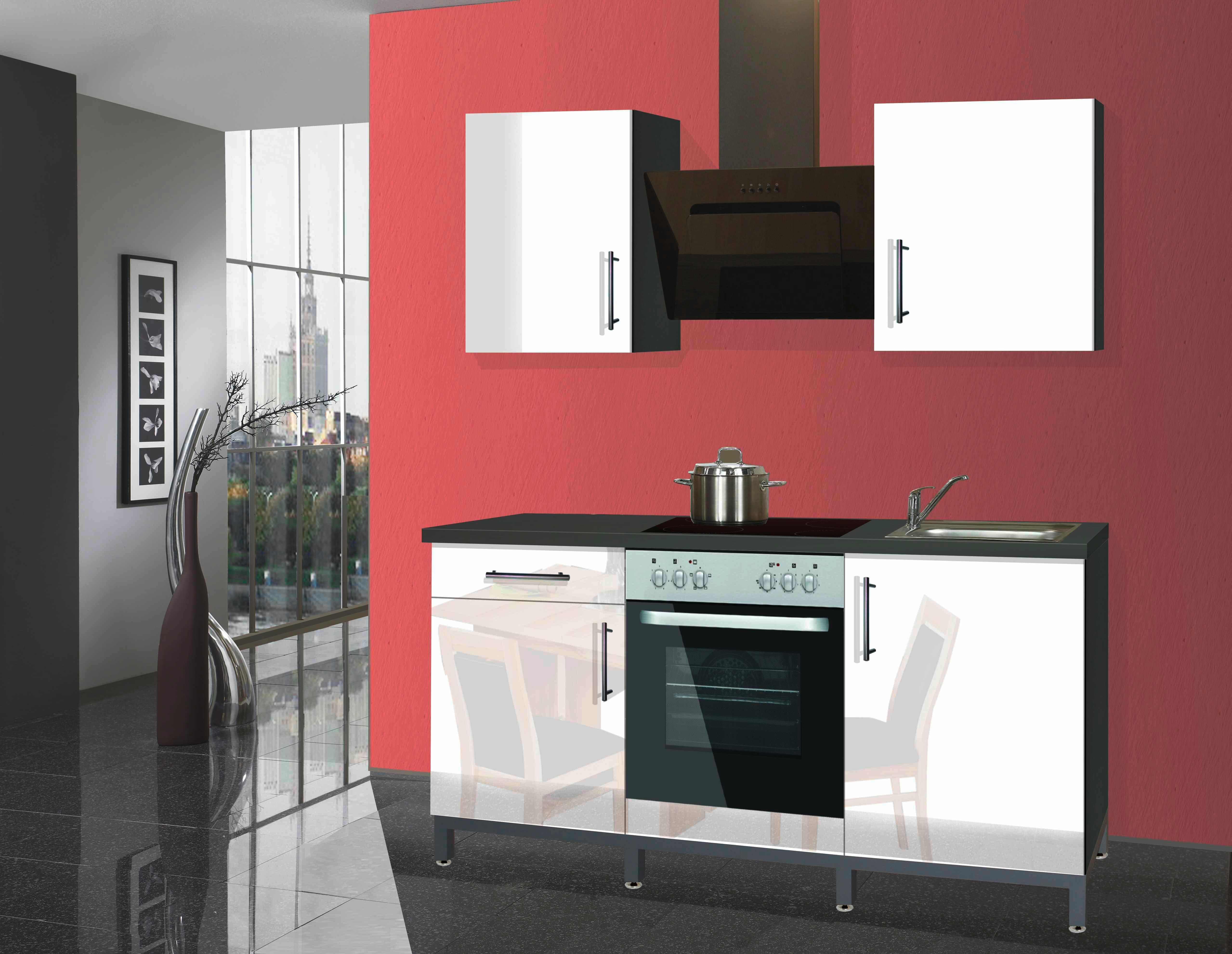 Miniküche Mit Kühlschrank 180 Cm : Miniküche rack time ii cm grau weiß online kaufen ➤ möbelix
