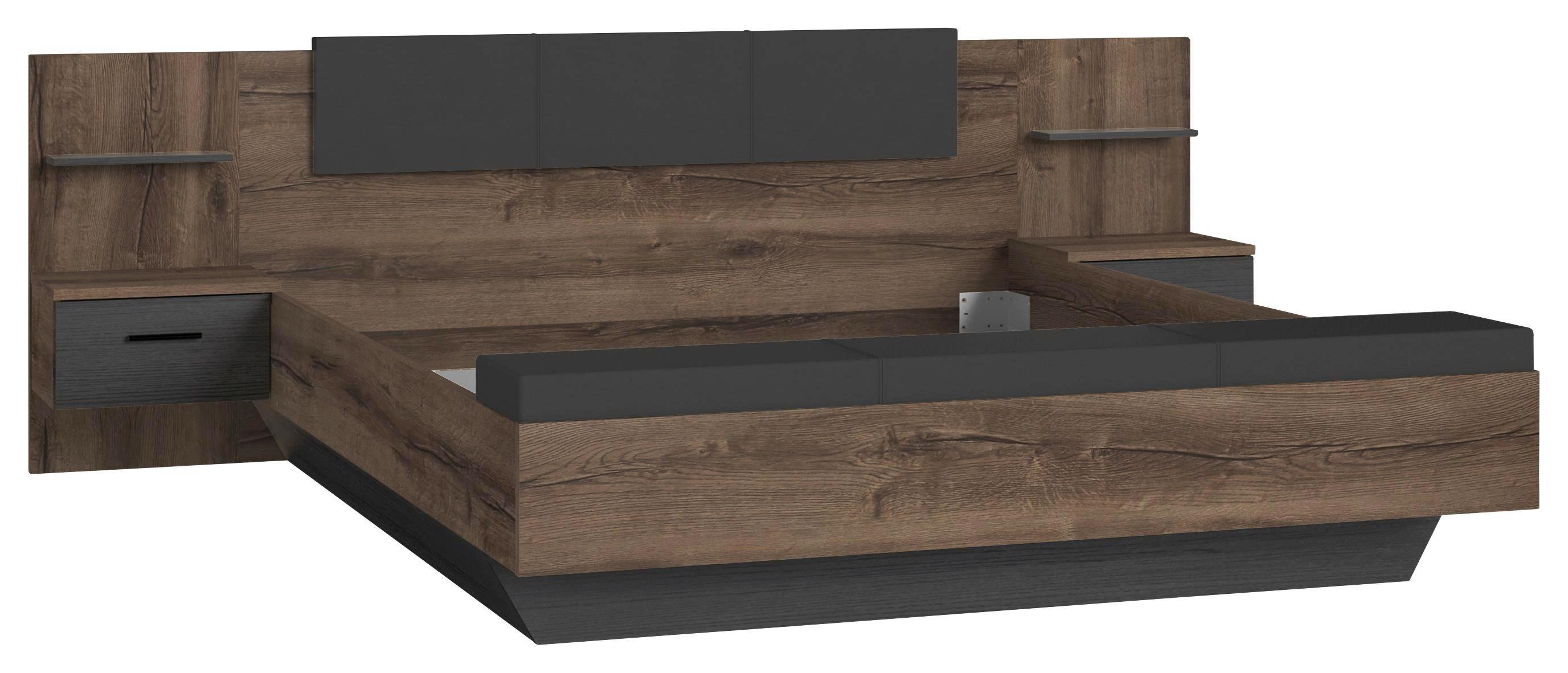 Ágykeret Chilly - fekete/tölgy színű, Lifestyle, műanyag/fém (275,5/232,6/95,6cm)