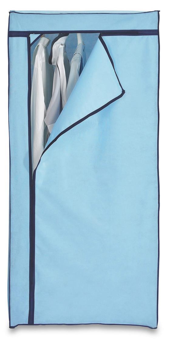 Szekrény Fancy - fekete/kék, modern, textil/fém (75/160/50cm)