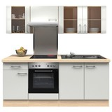 Küchenblock Abaco 210 cm Perlmutt - Edelstahlfarben/Perlmutt, MODERN, Holzwerkstoff (210/200/60cm) - FlexWell.ai
