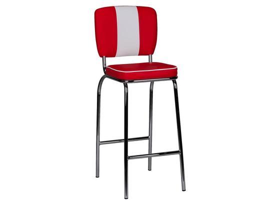 Barhocker American Diner B: 40 cm Rot - Rot/Silberfarben, MODERN, Kunststoff/Metall (40/110/38cm) - Livetastic