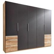 Drehtürenschrank mit Schubladen 250cm Level 36a, Graphit Dekor - Eichefarben/Graphitfarben, MODERN, Holzwerkstoff (250/216/58cm) - MID.YOU