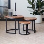 Beistelltisch 3er-Set Oxford, Echtholz Mangoholz Massiv - Schwarz/Naturfarben, LIFESTYLE, Holz/Metall (52/44/52cm) - Livetastic