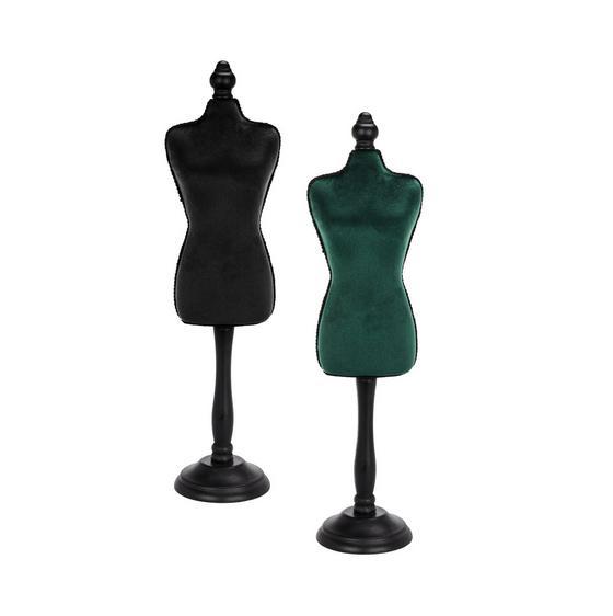 Busta Dekorační Velvet - černá/tmavě zelená, Moderní, dřevo/textil (12/48/8,5cm)