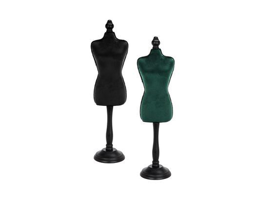 Dekoračná Busta Velvet - čierna/tmavozelená, Moderný, umelá hmota/drevo (12/48/8,5cm)
