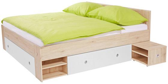 Postel Azurro 180x200cm - bílá/barvy dubu, Moderní, dřevěný materiál (204/75/185cm)