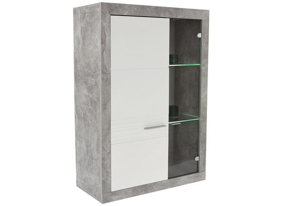 Vitrína Malta - šedá/bílá, Moderní, kompozitní dřevo (96/132/35cm)