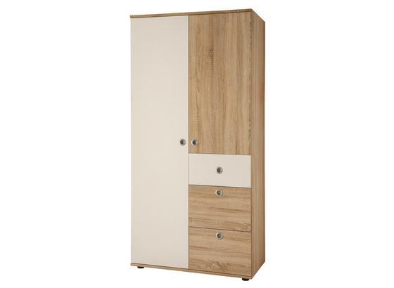 Kleiderschrank Wiki 90 cm Eiche Dekor/Weiß - Weiß/Sonoma Eiche, KONVENTIONELL, Holzwerkstoff (90/191/53cm)